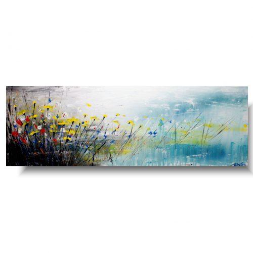 Delikatny obraz kwiaty pastelowa łąka