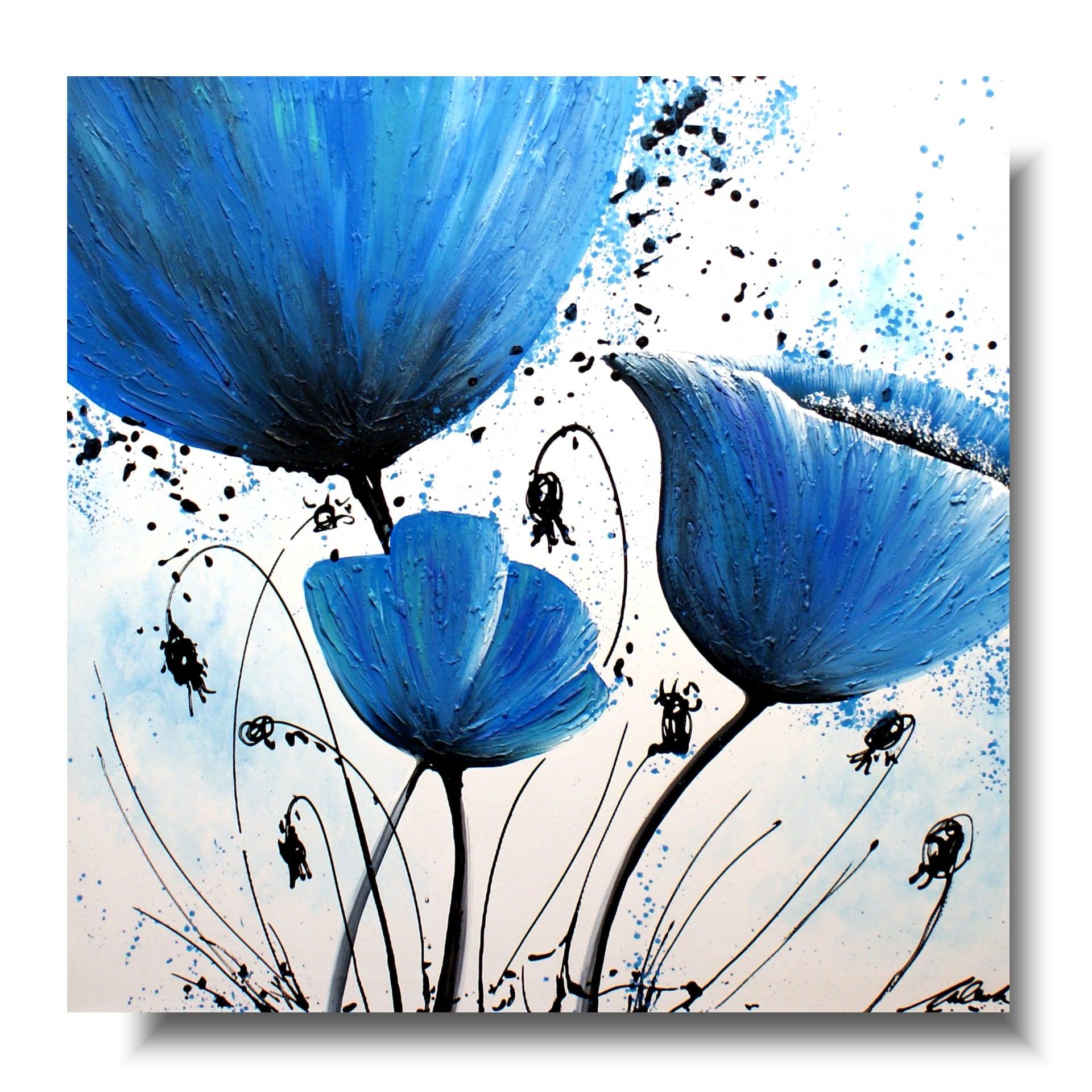 duży obraz niebieskie kwiaty