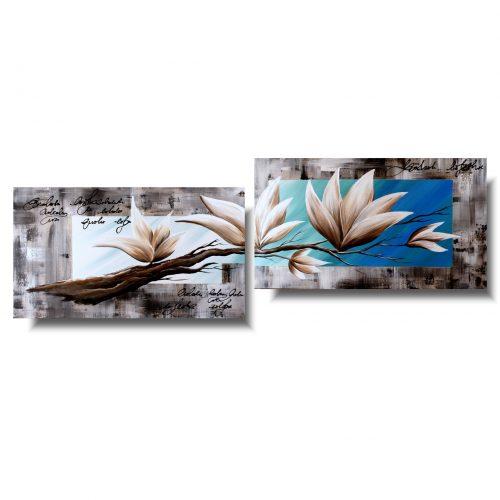 Kwiaty obraz zjawiskowa beżowa magnolia