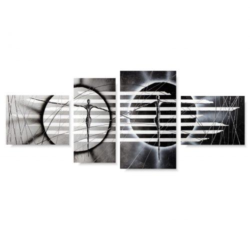 Obraz nowoczesna abstrakcja postacie w pasy