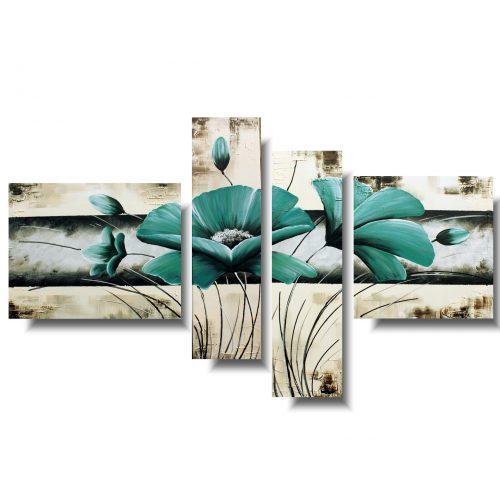Piękny obraz romantyczne turkusowe kwiaty