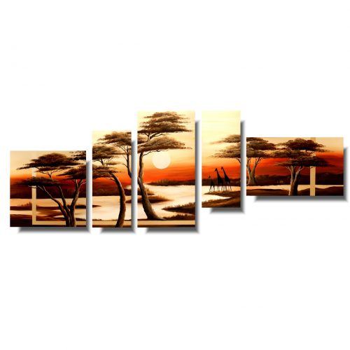 Nowoczesny obraz afrykańska sawanna i żyrafy