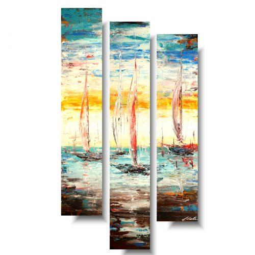 obrazy ręcznie malowane lato na żaglach