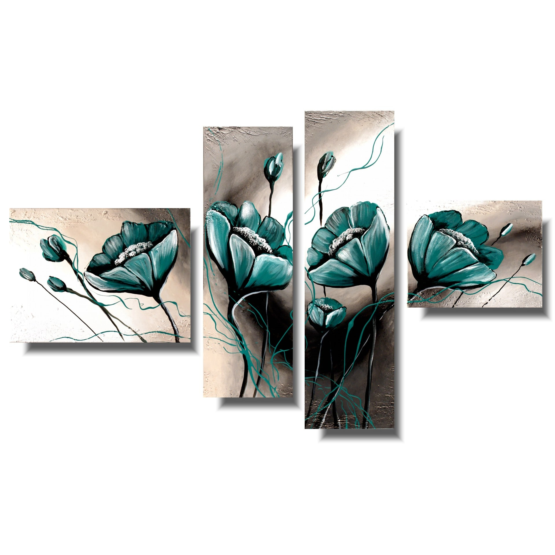 Turkusowe kwiaty obraz