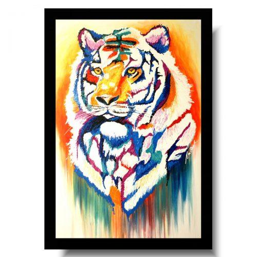 Obraz kolorowy tygrys obrazy ze zwierzętami do biura 1739A