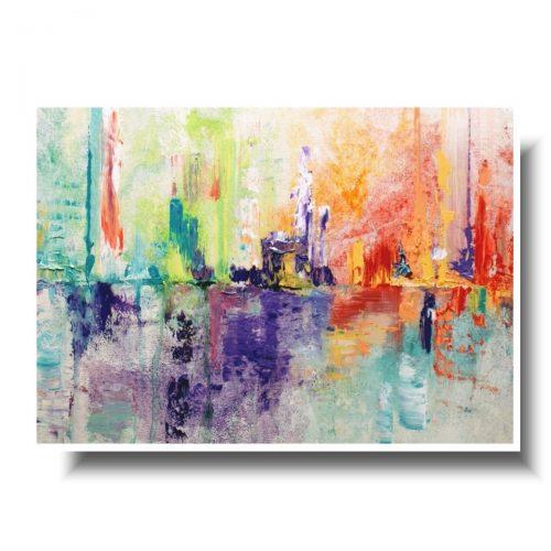 Kolorowa abstrakcja obraz w białej ramie