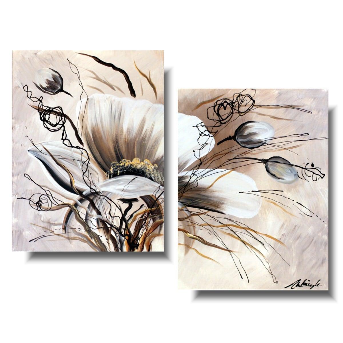 Obraz kwiaty delikatne beżowe maki 152A