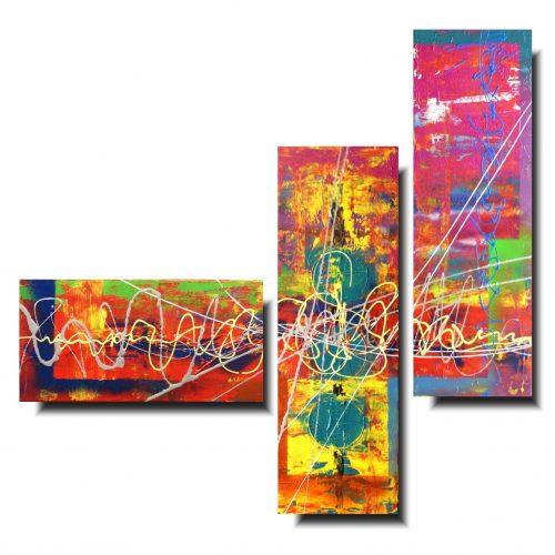 Kolorowa abstrakcja tryptyk kolory dzieciństwa