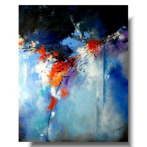 Kolorowa duża abstrakcja do sypialni
