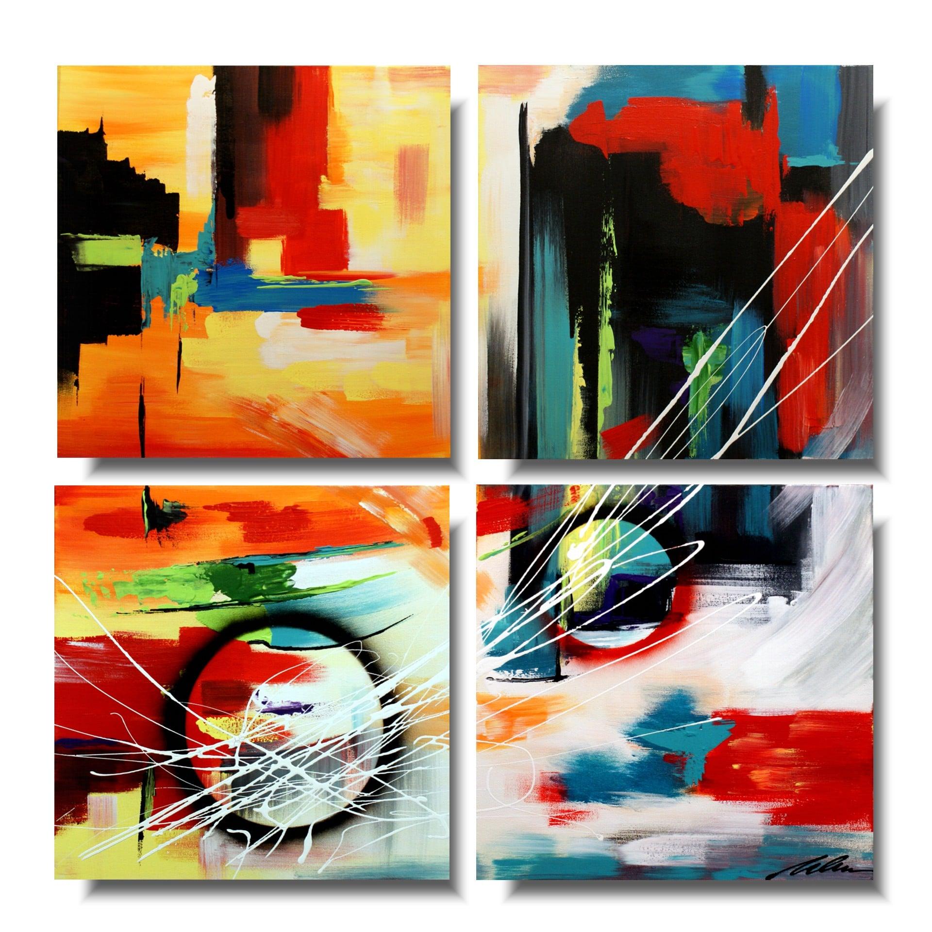 Modny obraz abstrakcja kolorowa kostka