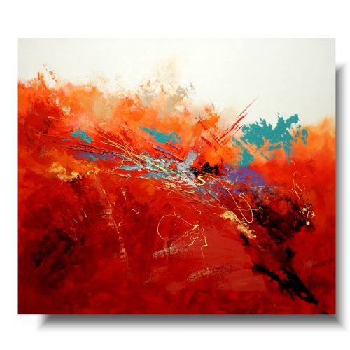 Nowoczesne obrazy abstrakcyjne czerwona moc