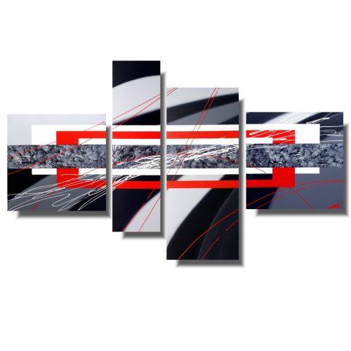 Nowoczesny obraz abstrakcja czerwona rama
