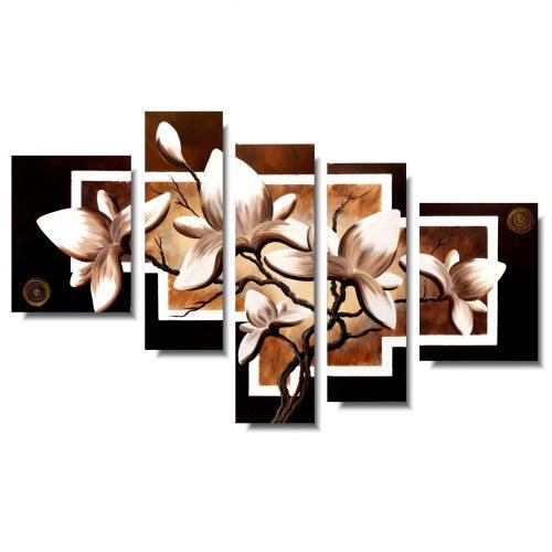 Nowoczesny obraz z kwiatami brązowa magnolia
