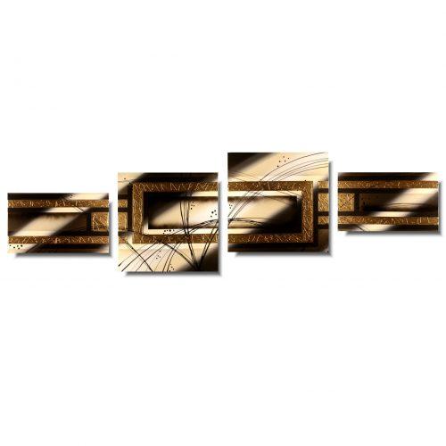Obraz do salonu abstrakcja złoty skos