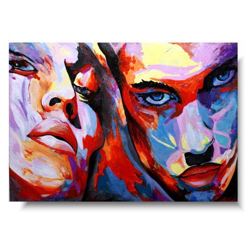 Obraz kolorowy portret pan i pani