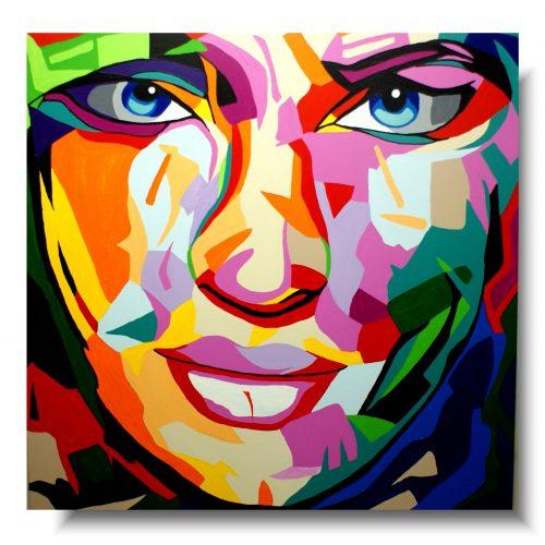 obraz kolorowy portret abstrakcja