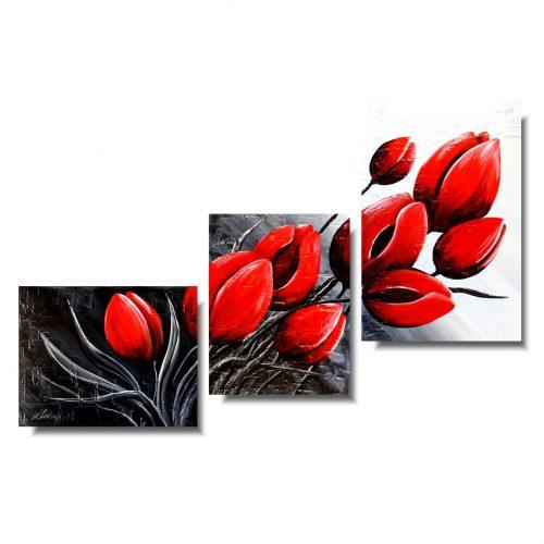 Obraz kwiaty romantyczne czerwone tulipany
