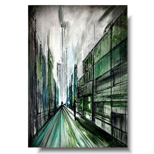 obraz nowoczesny zielona uliczka