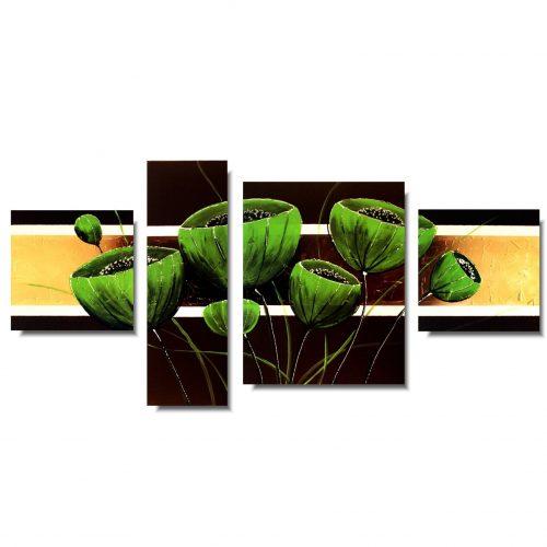 Obraz ręcznie malowany zielone kwiaty