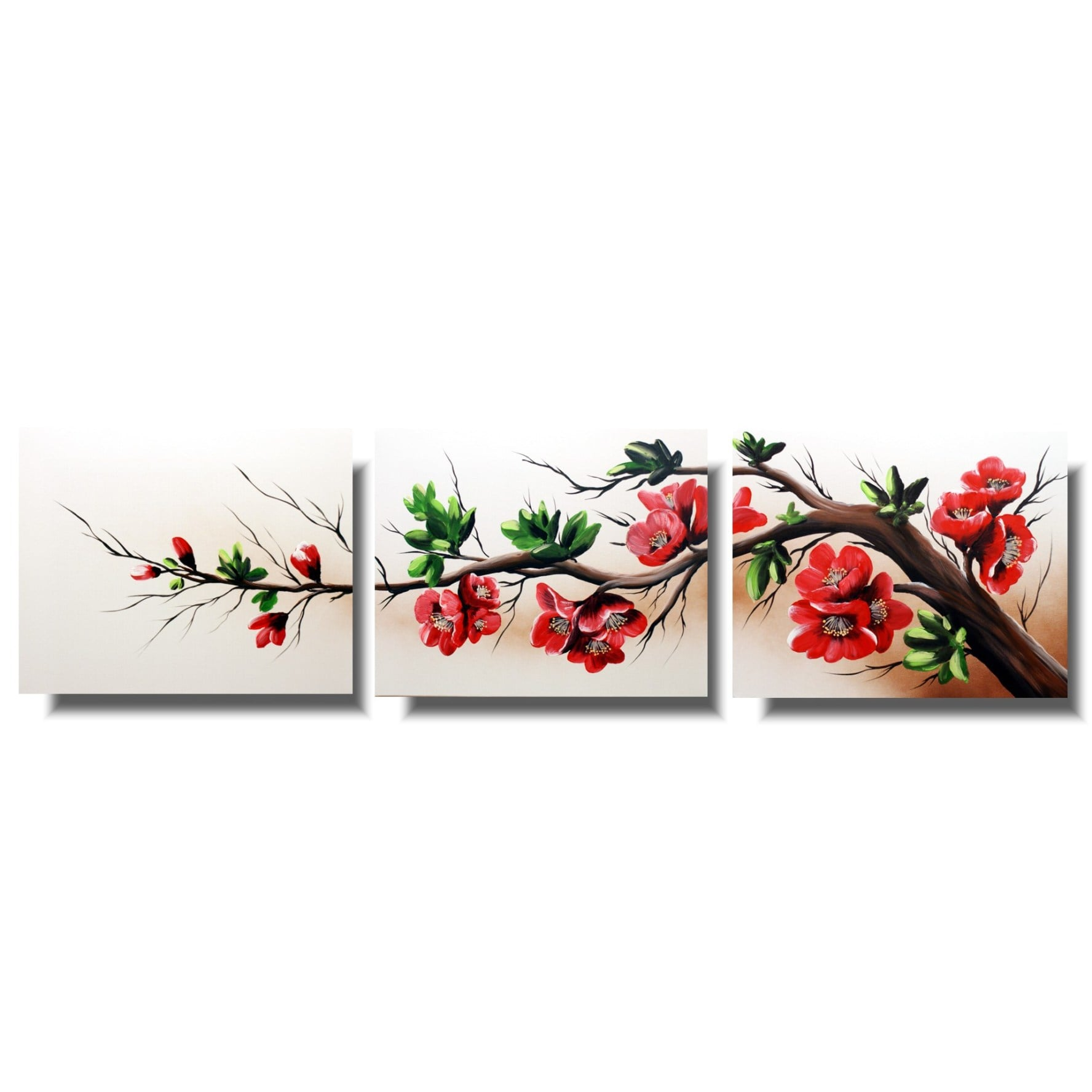 Obraz tryptyk drzewo kwitnąca wiśnia