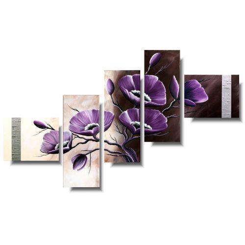 Obraz współczesny delikatne fioletowe maki