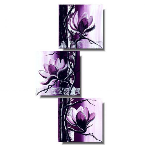 Obraz z kwiatami fioletowa magnolia pion