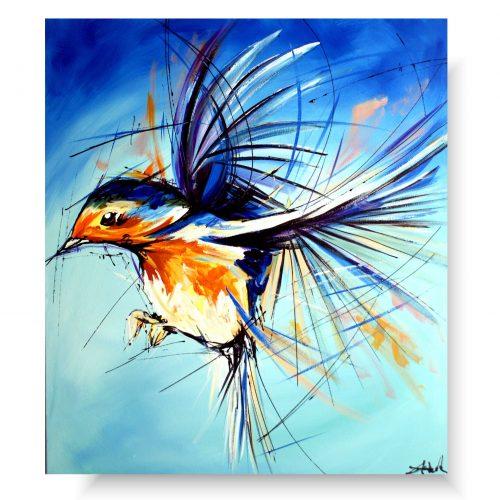 obraz zwierzęta ptaszek na wietrze