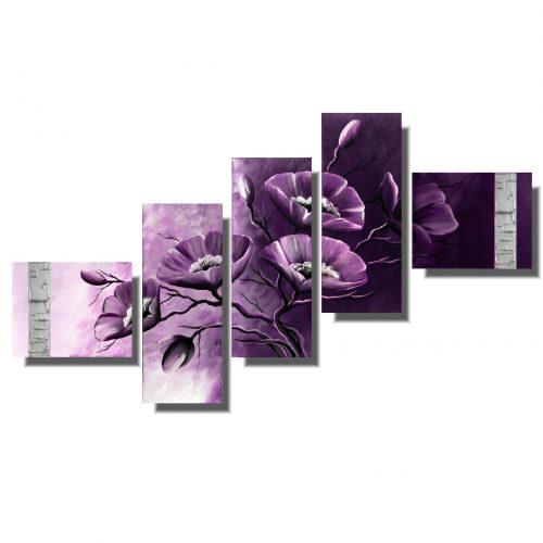 Obraz kwiaty fioletowe delikatne maki