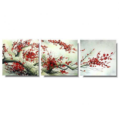 Obrazy tryptyki wiosenna kwitnąca wiśnia