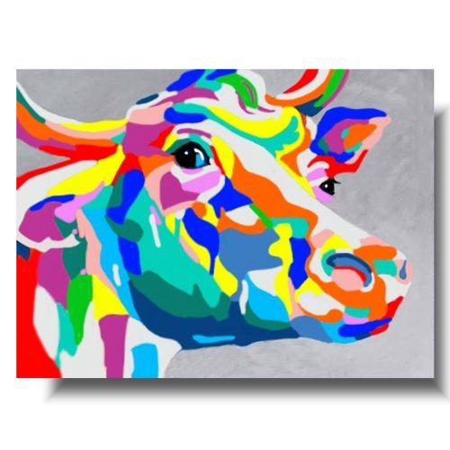 obrazy ze zwierzętami kolorowa krowa
