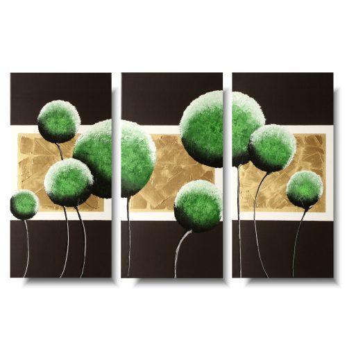 Tryptyk obrazy kwiaty zielone dmuchawce