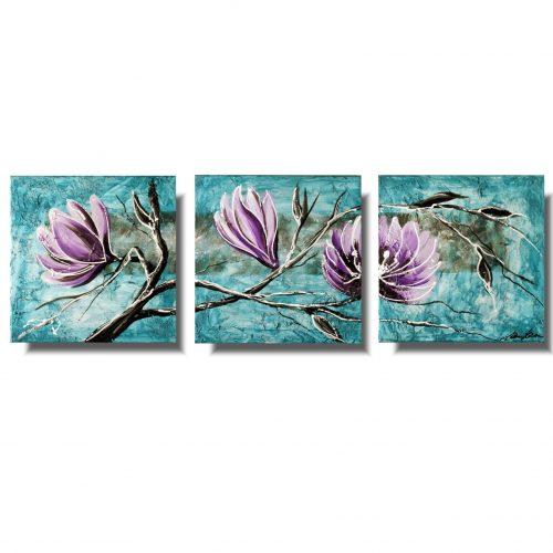 tryptyk turkusowa magnolia obraz