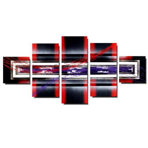 Wieloczęściowy obraz fiolet i czerwień
