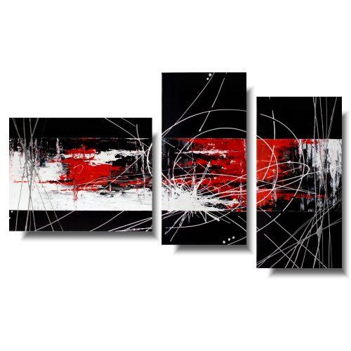 Abstrakcja czerwony obraz tryptyk