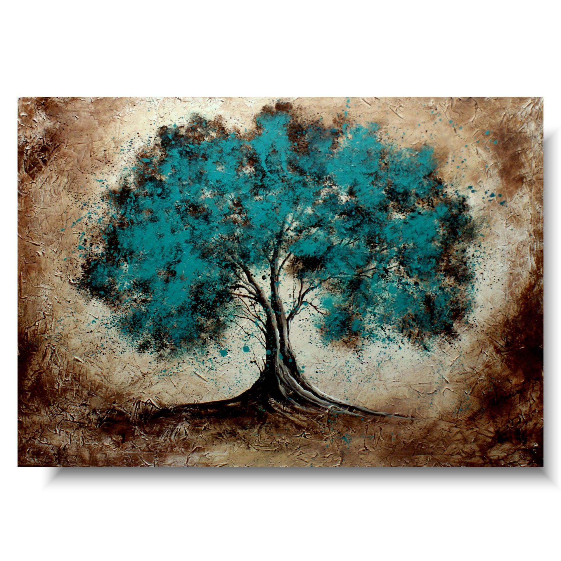 duży obraz spokojne turkusowe drzewo 1525A