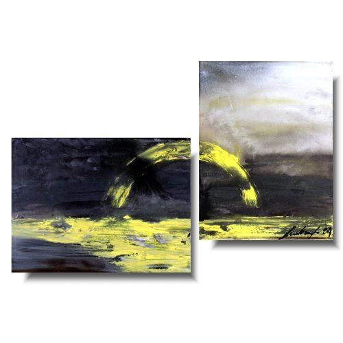 nowoczesny obraz abstrakcyjny zachód słońca