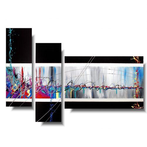 nowoczesny tryptyk abstrakcja zabawa kolorem