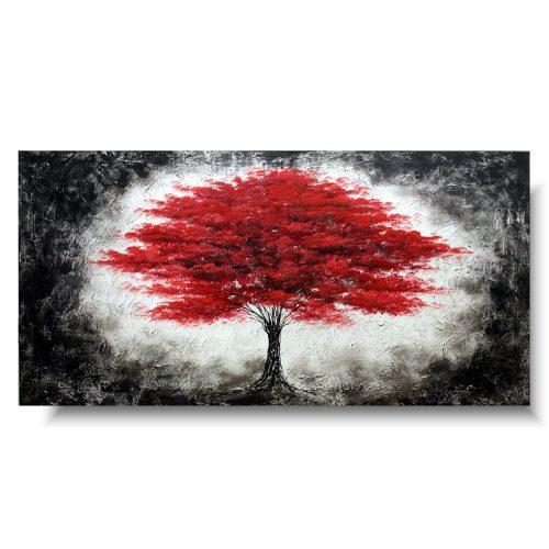 obraz ogniste czerwone drzewo