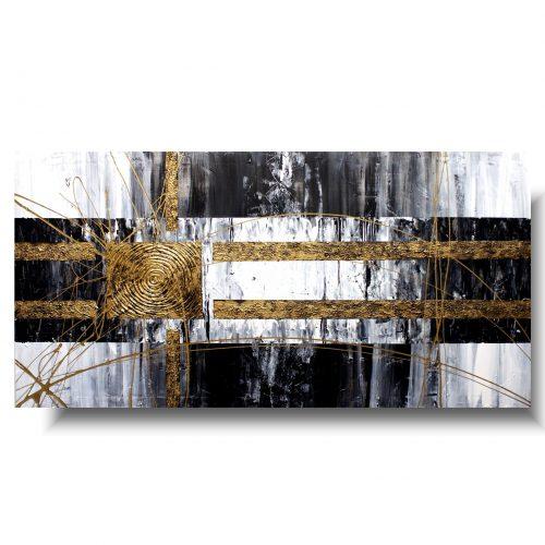 Obraz szara abstrakcja złoty akcent