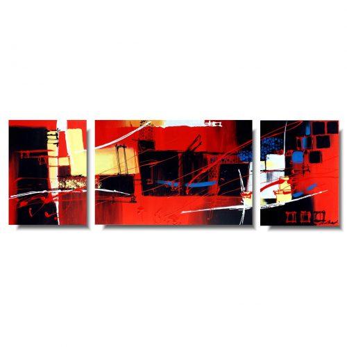 obraz tryptyk czerwona wesoła abstrakcja