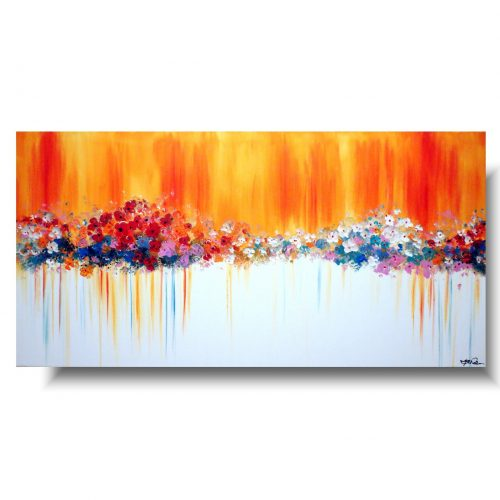 Obraz z kwiatami pomarańczowe kwiatuszki