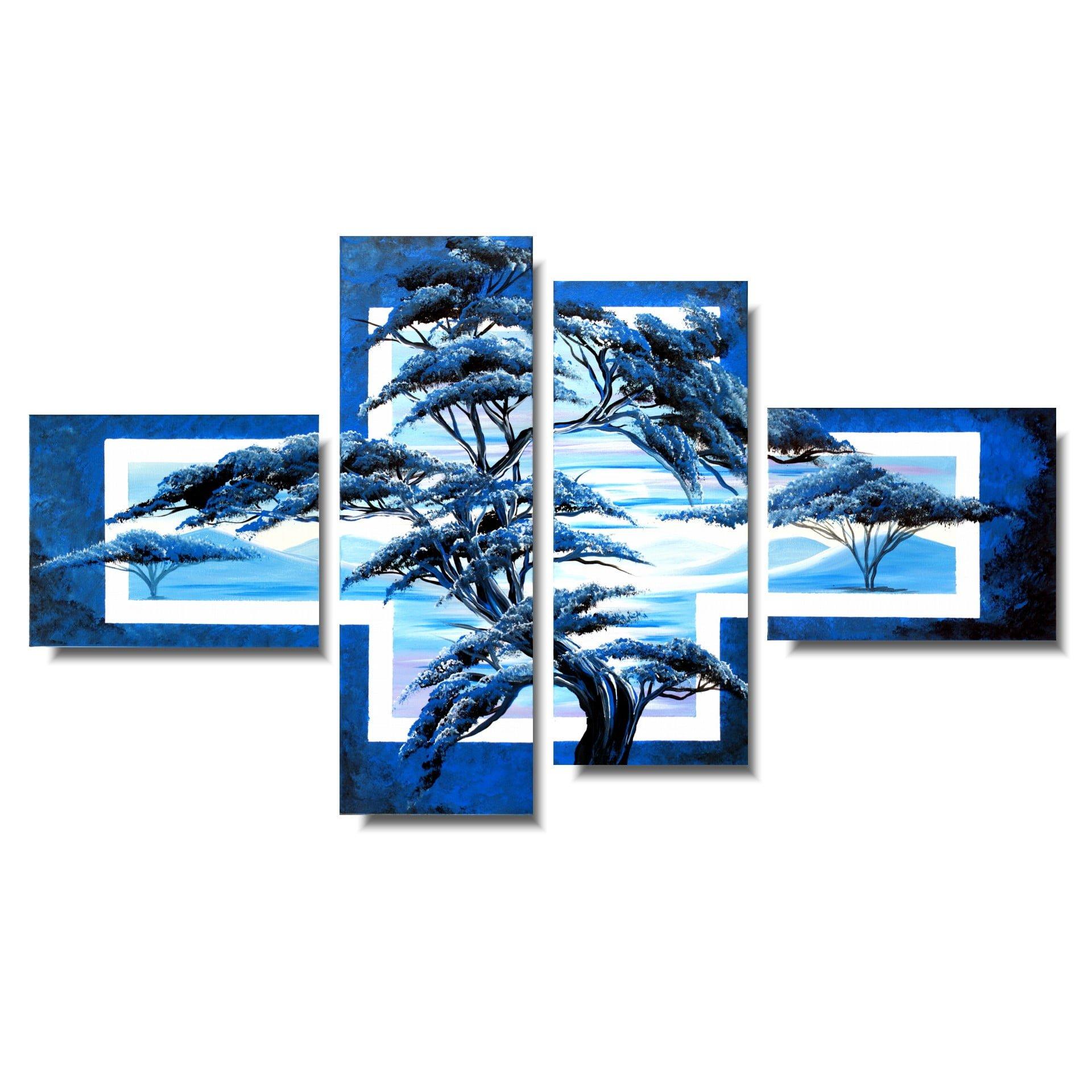 pejzaż niebieski poranek obraz drzewo 866A