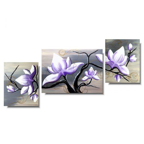 Tryptyk z kwiatami magnolia