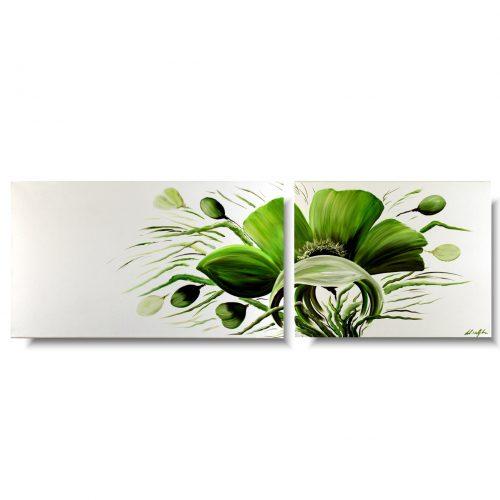 Obraz kwiaty wiosenne zielone maki 362A