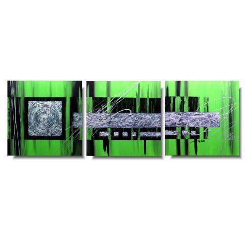 Zielony tryptyk abstrakcja