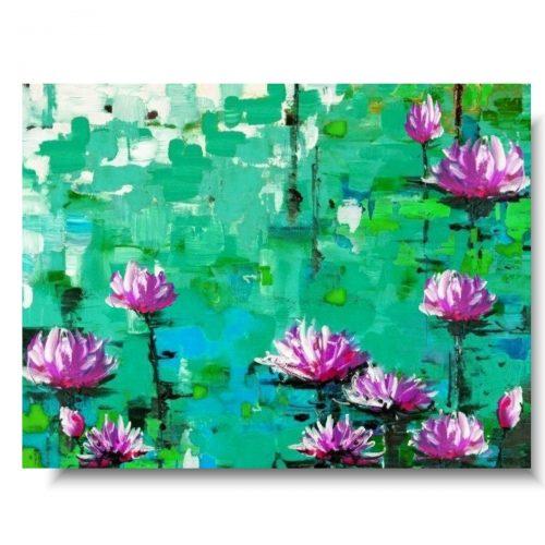 Piękny obraz lilie na wodzie