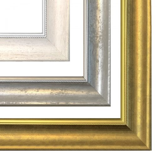 Rama do obrazu srebrna złota lub biała z przetarciami