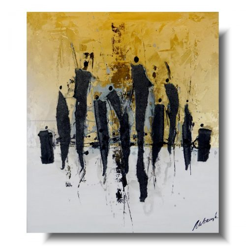Nowoczesny obraz abstrakcja gold people