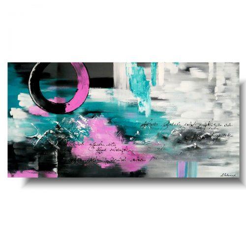 Duży obraz abstrakcyjny różowe koło