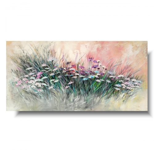 Ręcznie malowany obraz z kwiatami pastelowa łąka